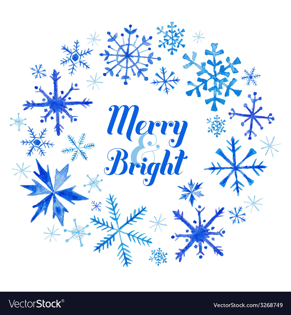Winter christmas card - snowflakes in watercolor vector | Price: 1 Credit (USD $1)