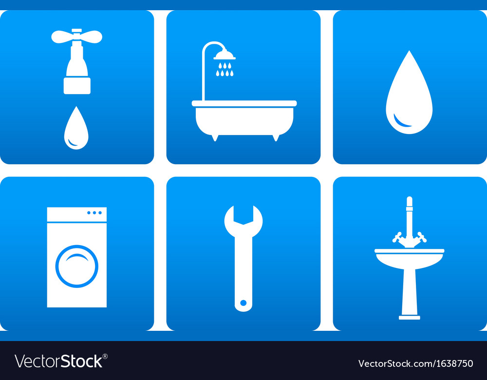 Bath objects on blue background vector | Price: 1 Credit (USD $1)