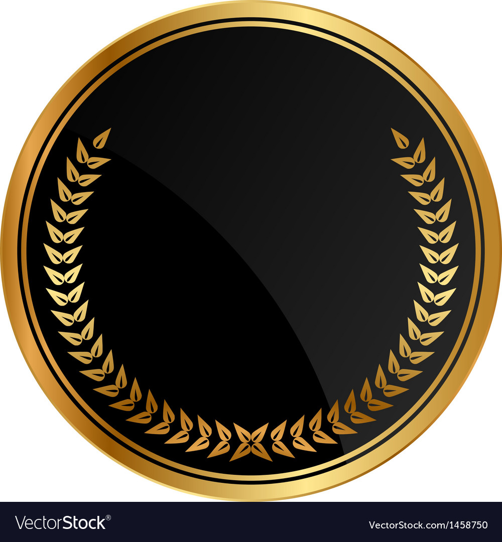 Black medal old laurels vector | Price: 1 Credit (USD $1)