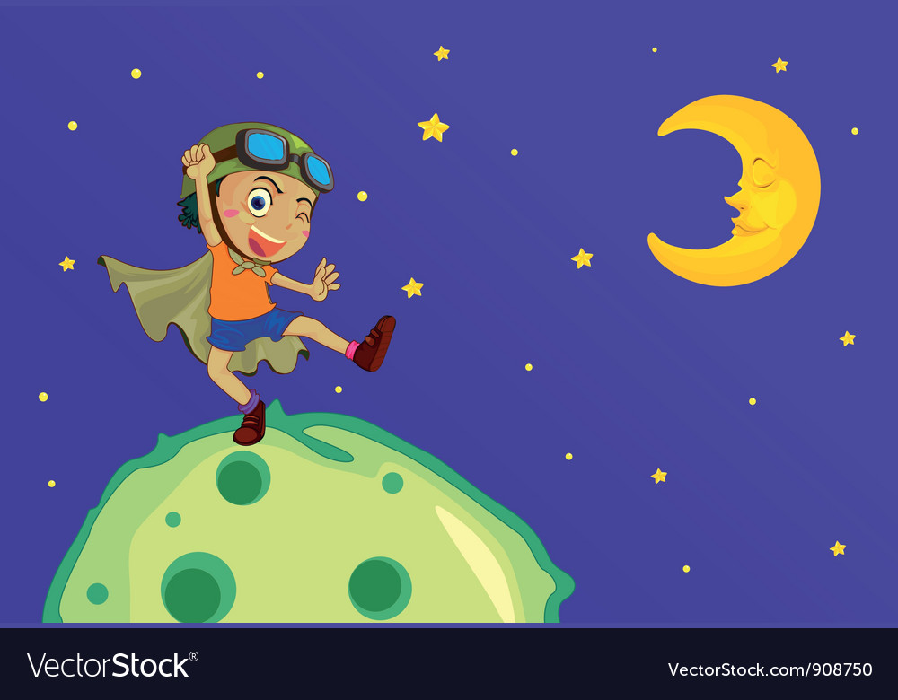 Boy on the moon vector | Price: 3 Credit (USD $3)