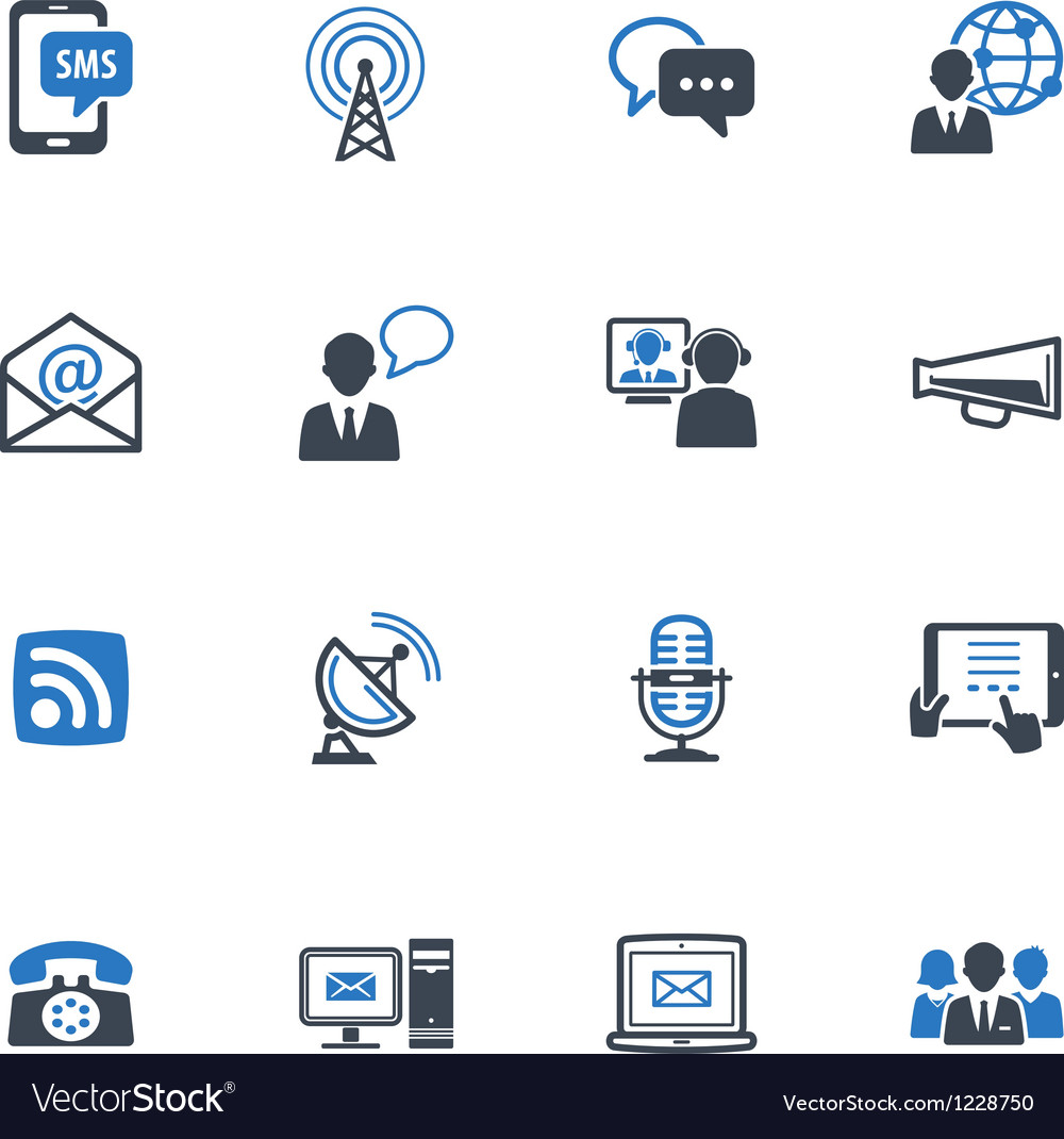Communication icons set 1  blue series vector
