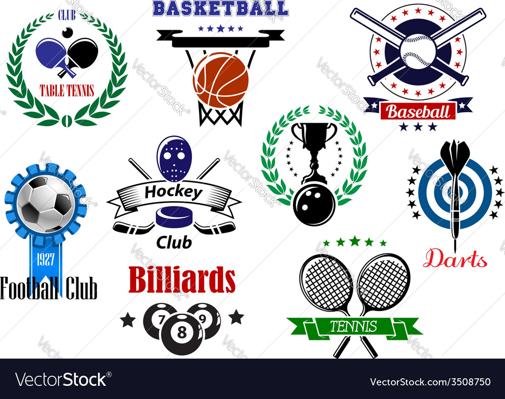 Competitive sport emblems set vector | Price: 1 Credit (USD $1)