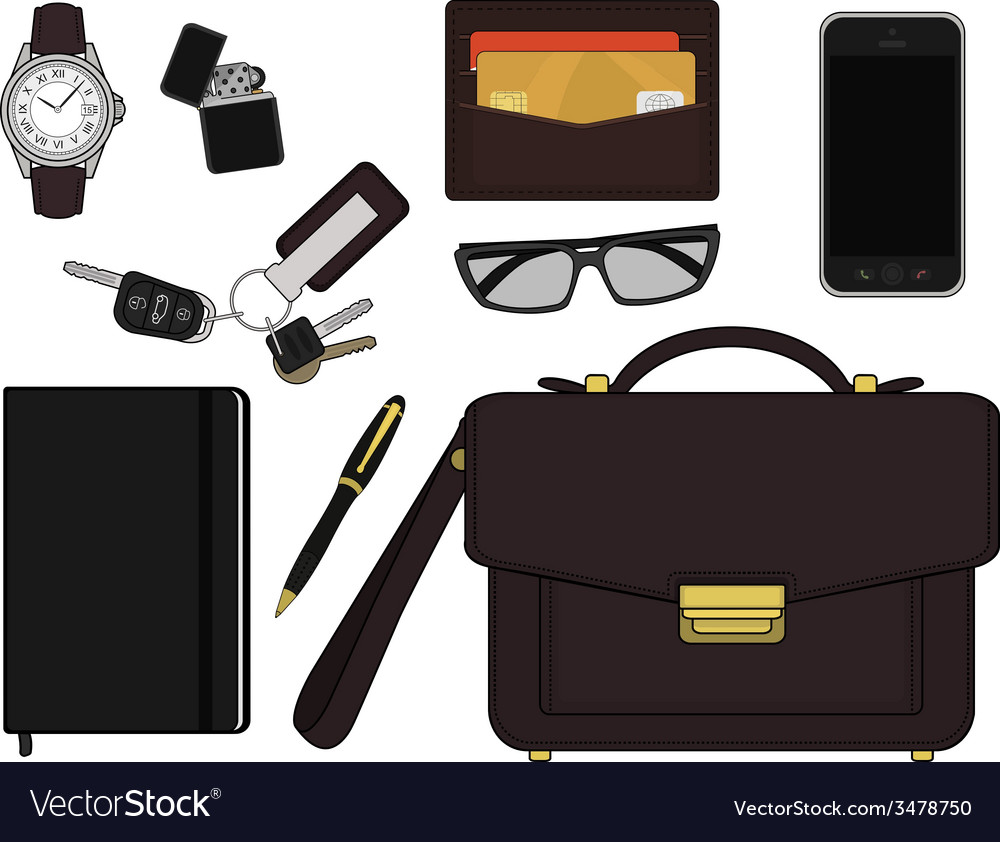 Every day carry man items businessman vector | Price: 1 Credit (USD $1)