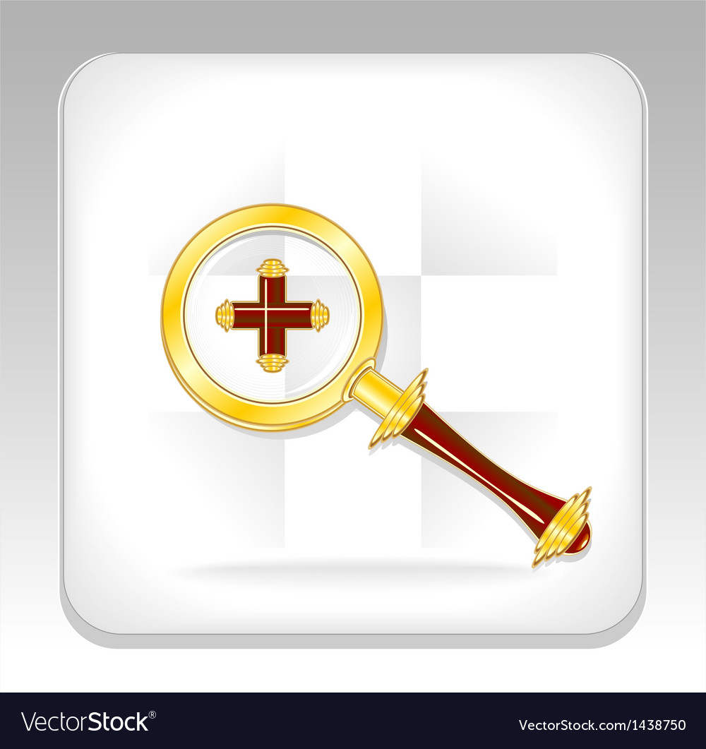 Gold magnifier icon or button with plus vector | Price: 1 Credit (USD $1)