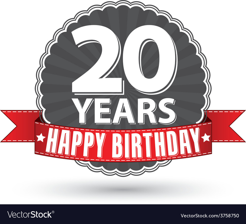 Happy birthday 20 years retro label with red vector | Price: 1 Credit (USD $1)