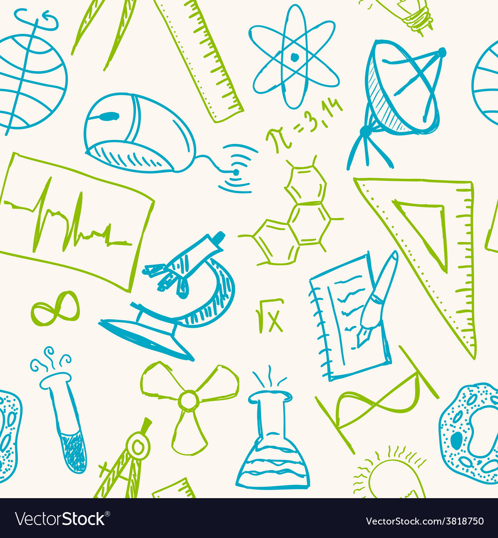 Science drawings on seamless pattern vector | Price: 1 Credit (USD $1)