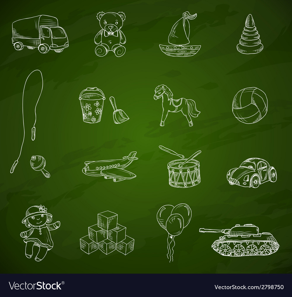 Toys chalkboard sketch set vector | Price: 1 Credit (USD $1)