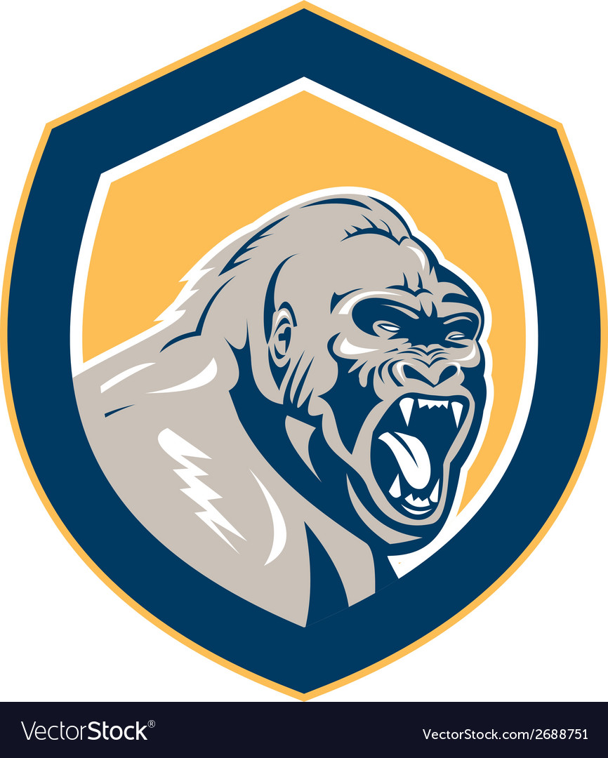 Angry gorilla head shield retro vector | Price: 1 Credit (USD $1)