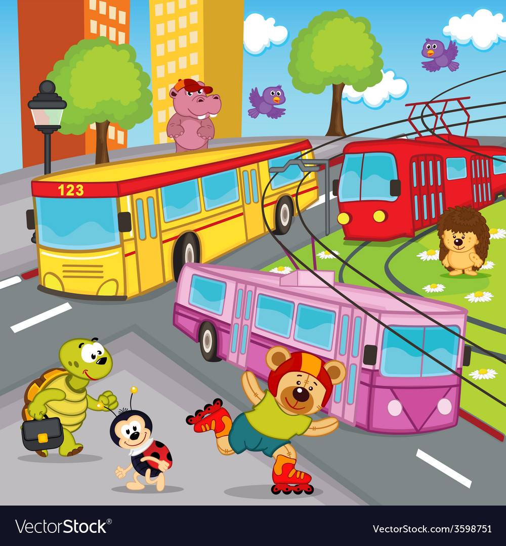Animals trolleybus tram bus vector | Price: 1 Credit (USD $1)