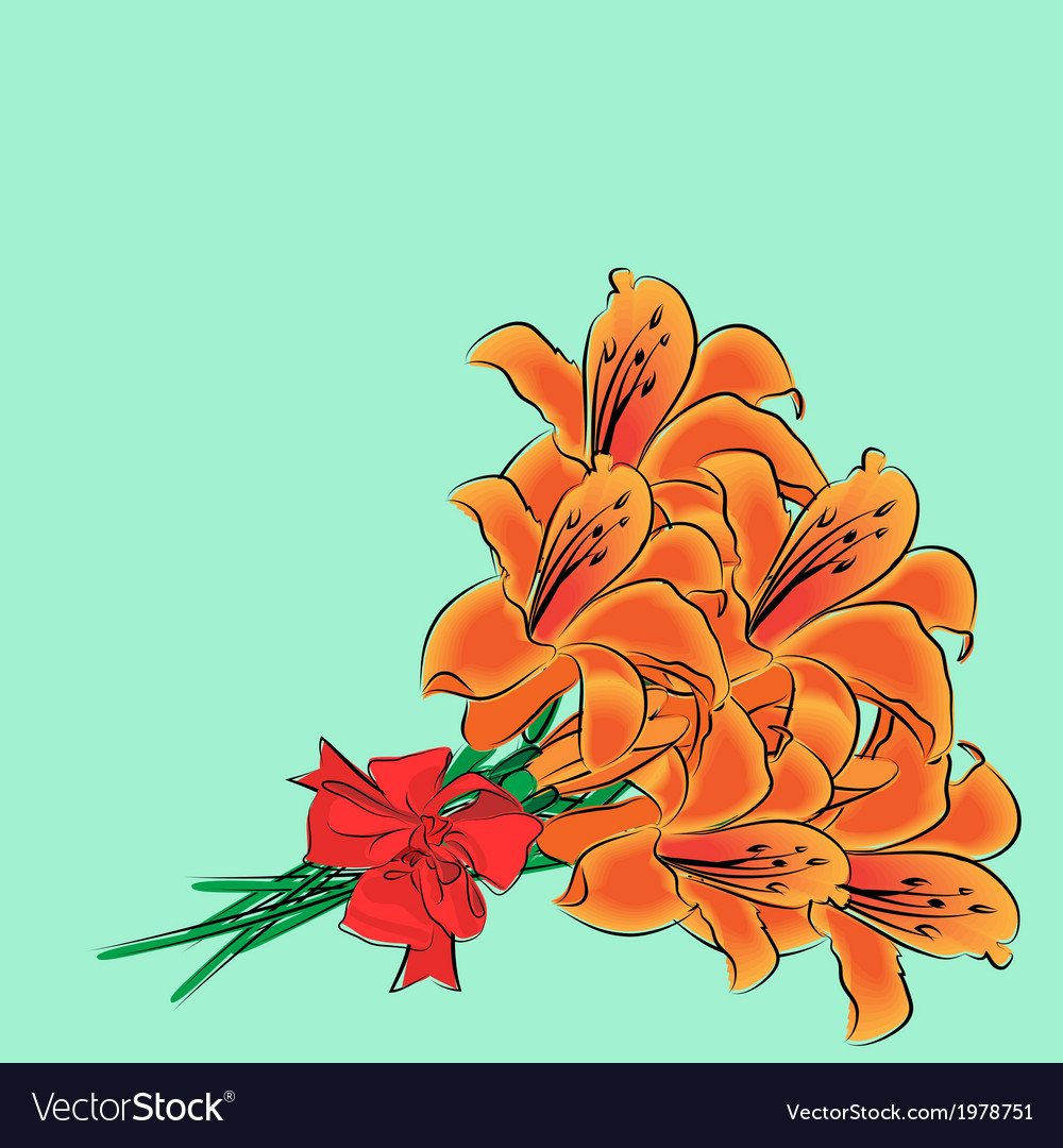 Bouquet of lilies vector | Price: 1 Credit (USD $1)