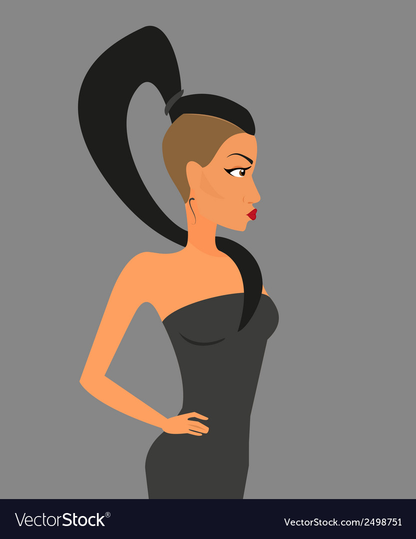 Brunette woman wearing stylish haircut vector | Price: 1 Credit (USD $1)