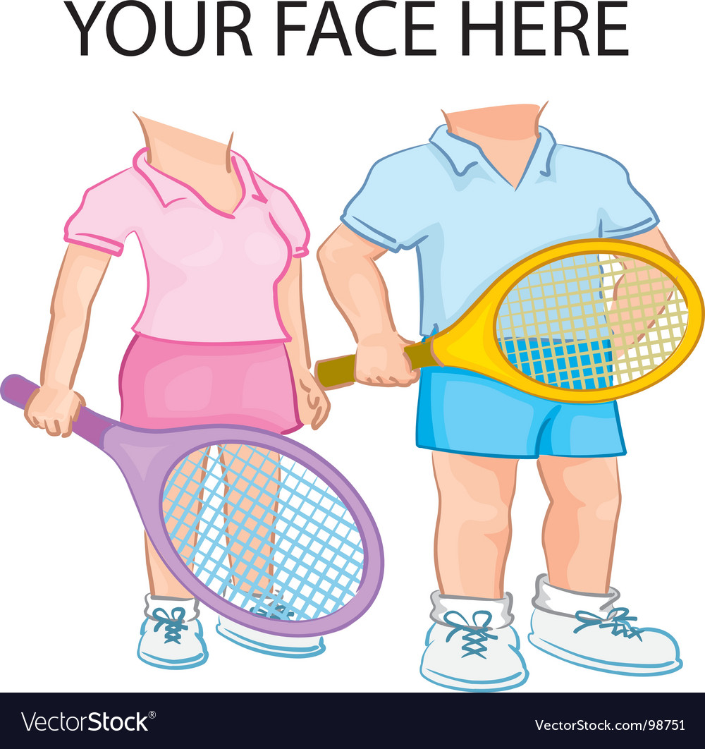Couple playing tennis vector | Price: 1 Credit (USD $1)
