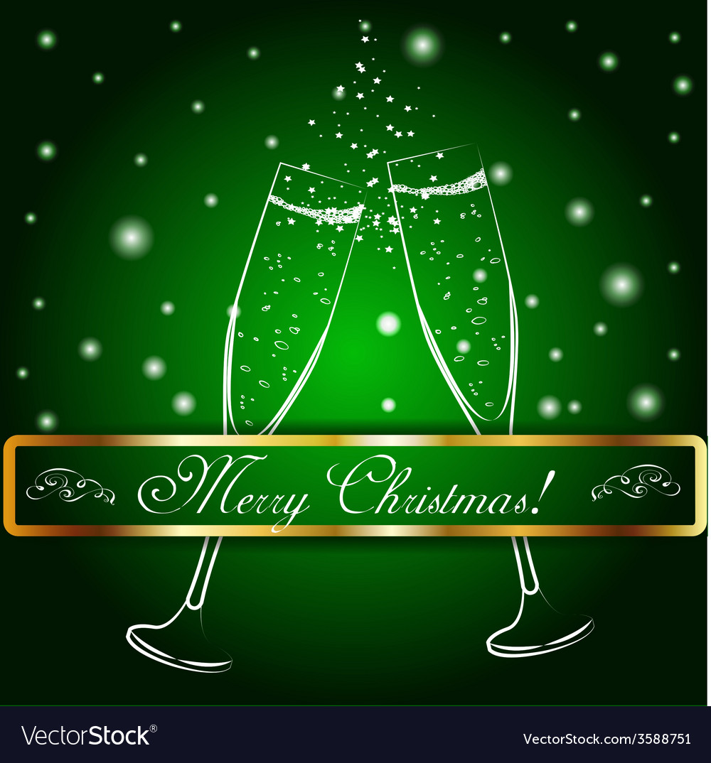 Merry christmas glasses of champagne on a vector | Price: 1 Credit (USD $1)