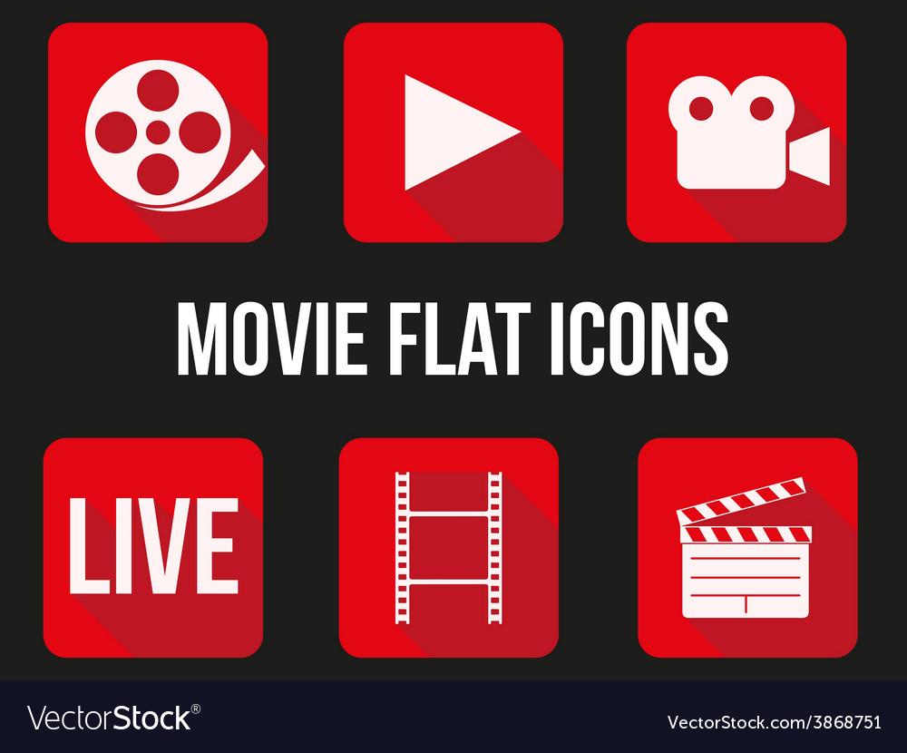 Movie square icons set vector | Price: 1 Credit (USD $1)