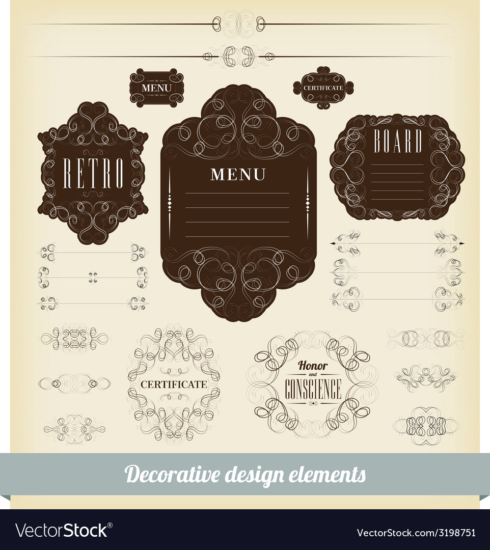 Set of calligraphic design elements vector | Price: 1 Credit (USD $1)