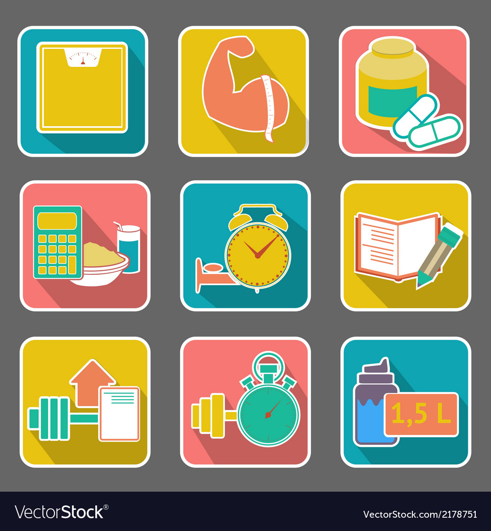 Set of flat icons diet and fitness vector | Price: 1 Credit (USD $1)