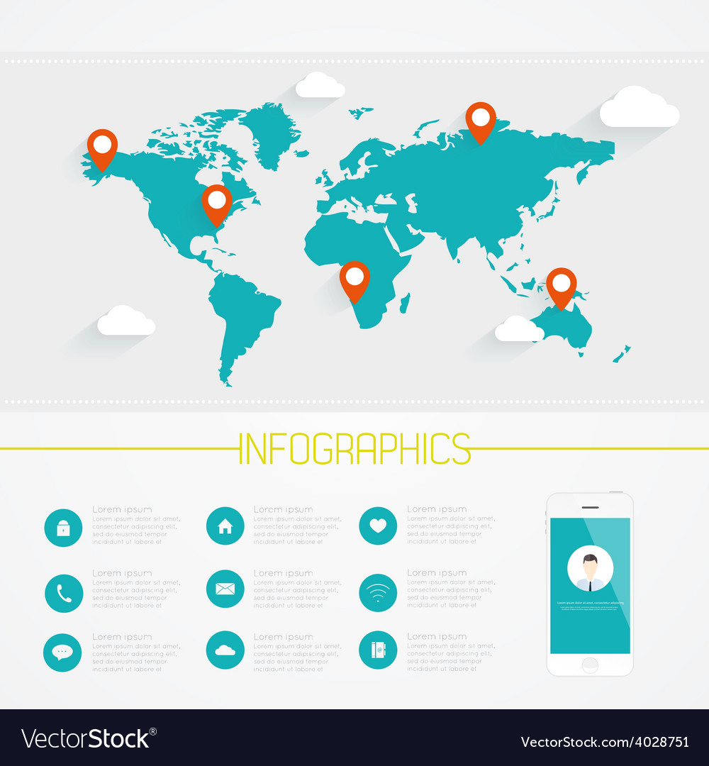 World map infographics vector | Price: 1 Credit (USD $1)