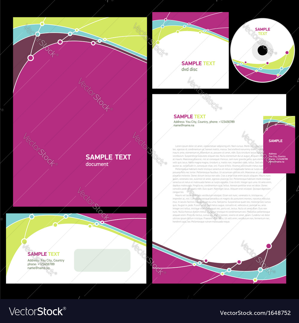 Abstract corporate identity line wave colorful vector | Price: 1 Credit (USD $1)