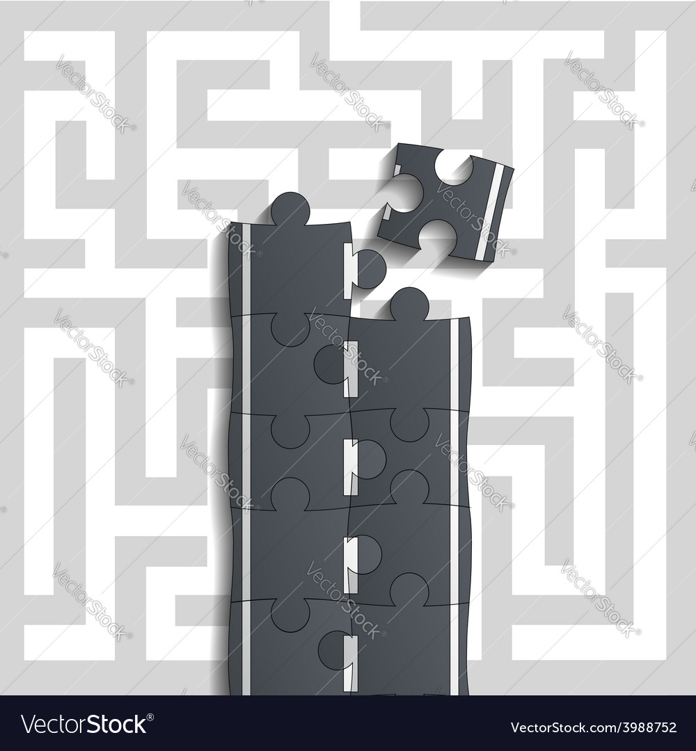 Bridge of puzzles through the maze vector | Price: 1 Credit (USD $1)
