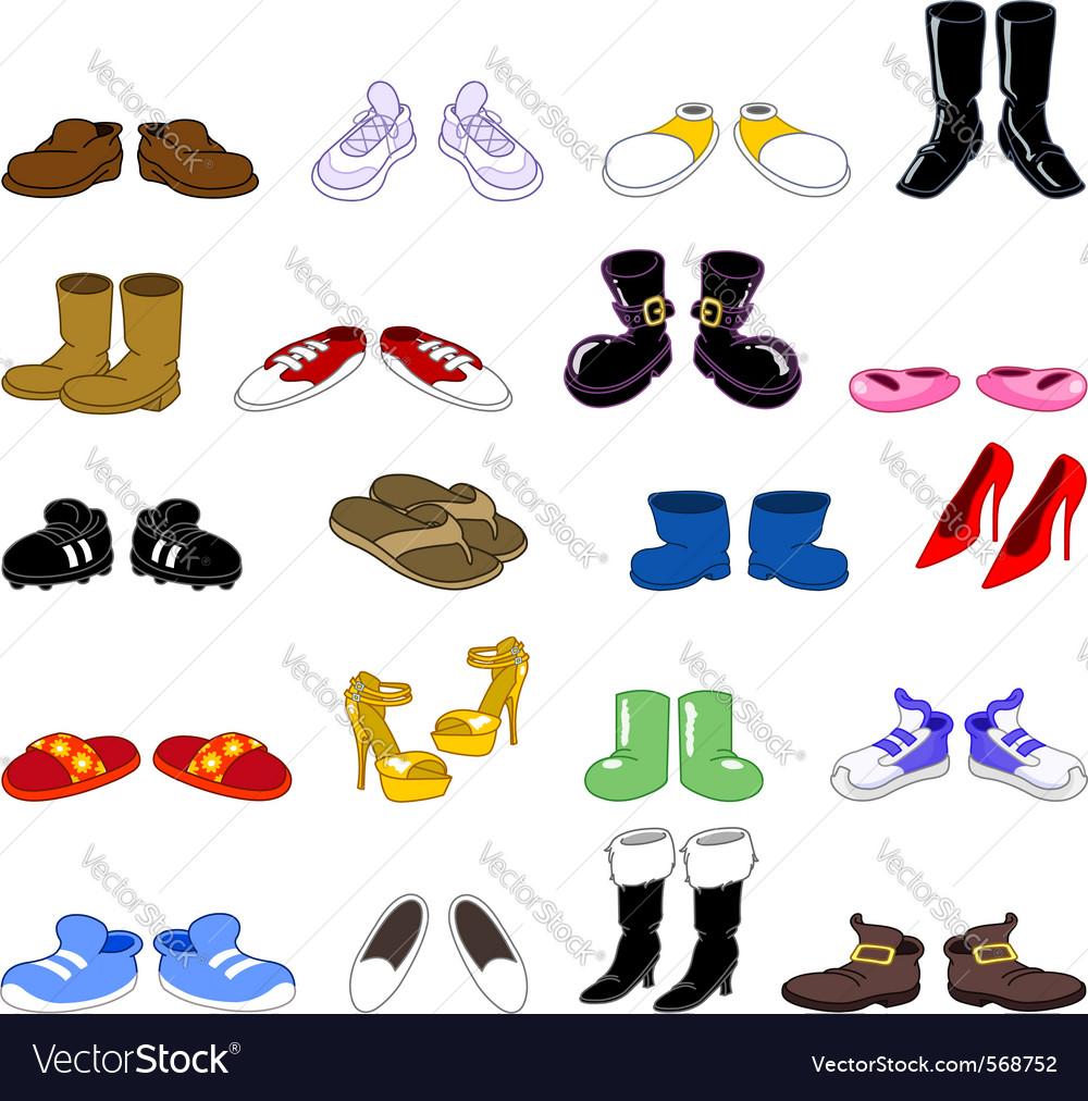Cartoon shoes set vector