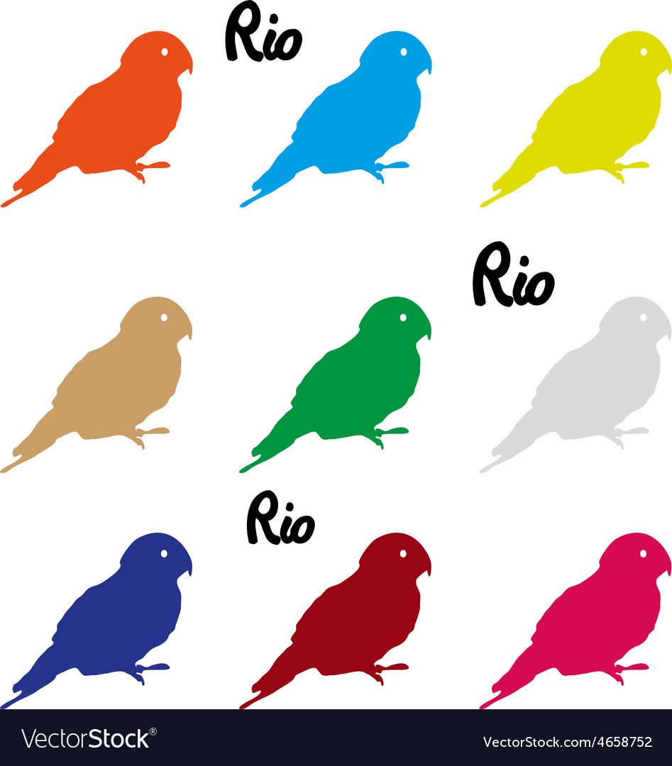 Colors parrots icons symbol and rio text eps10 vector