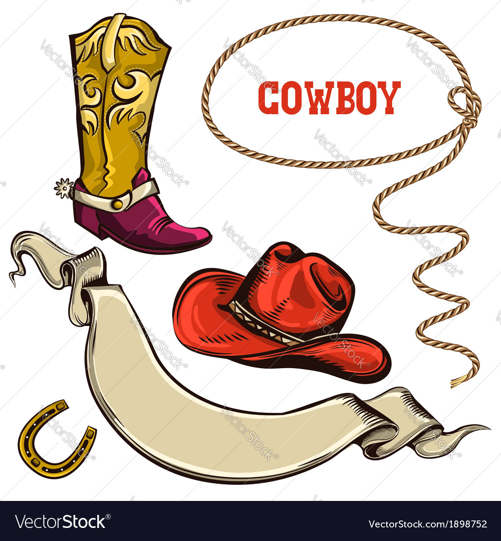 Cowboy american objects vector