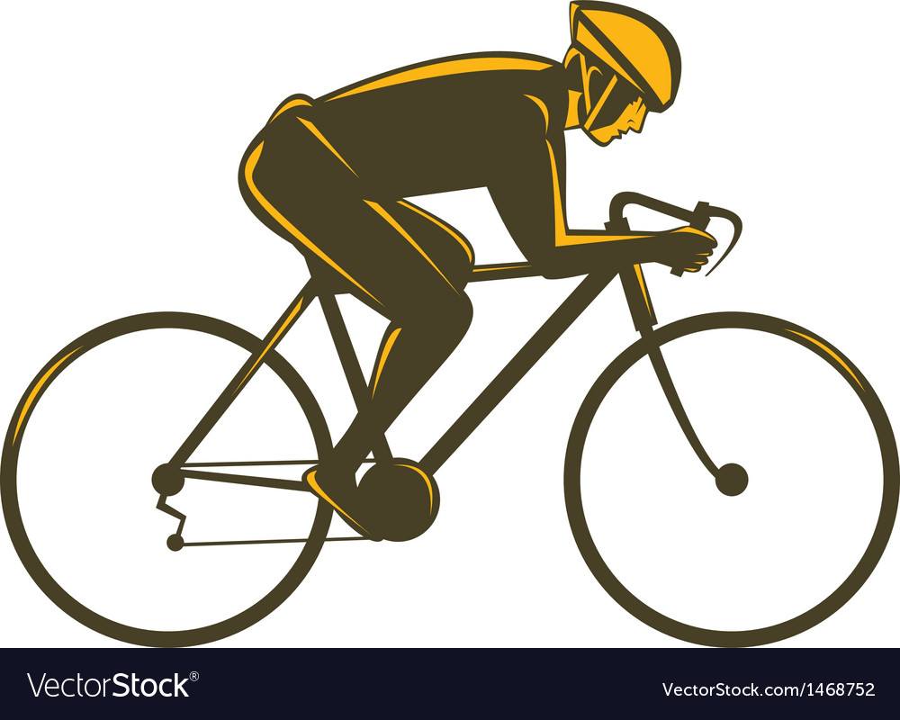 Cyclist riding bicycle viewed from side vector   Price: 1 Credit (USD $1)