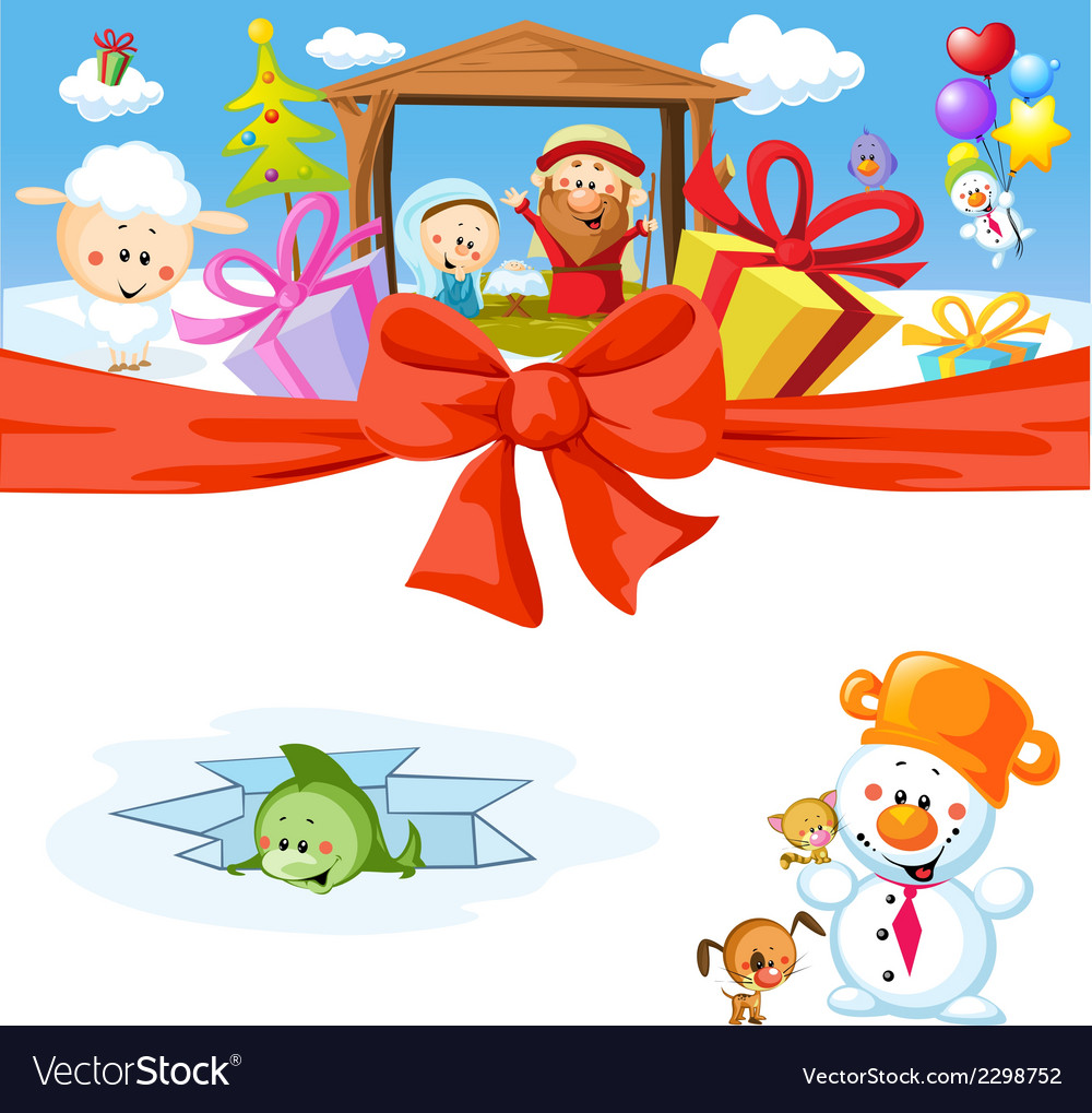 Funny christmas design with nativity vector | Price: 1 Credit (USD $1)