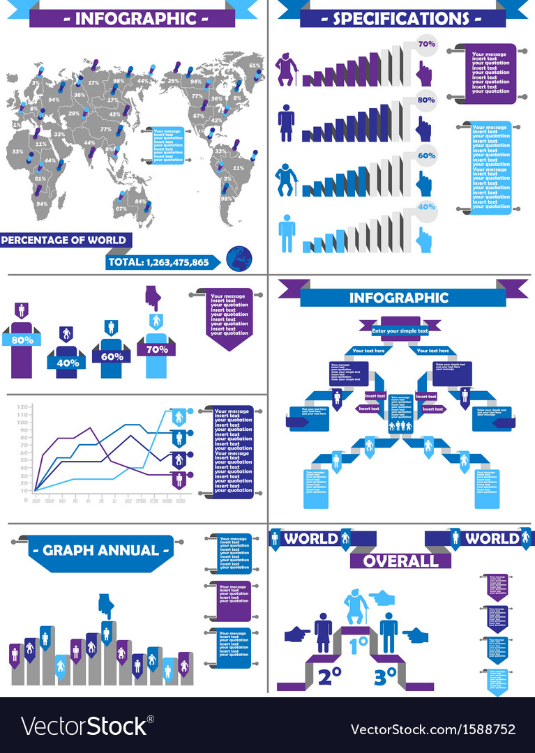 Infographic demographic rtero labbel purple vector | Price: 1 Credit (USD $1)