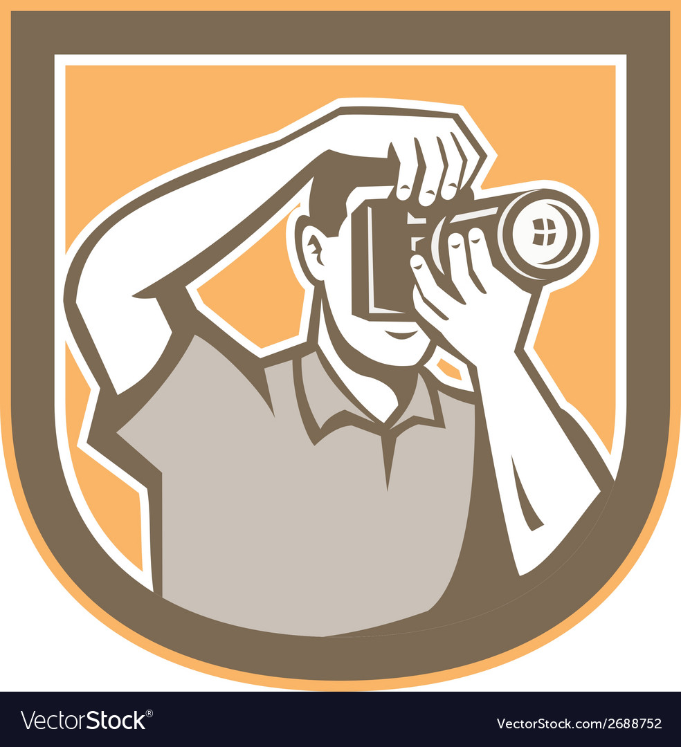Photographer camera shield retro vector | Price: 1 Credit (USD $1)
