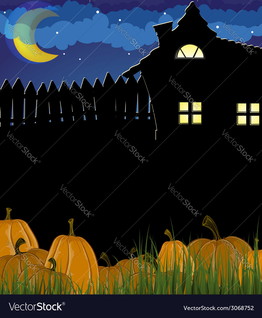 Pumpkins in a grass near the house vector | Price: 1 Credit (USD $1)