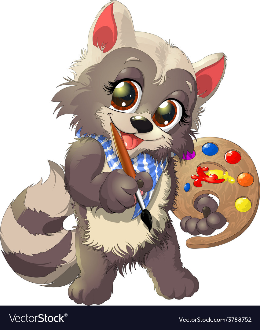 Raccoon artist vector | Price: 3 Credit (USD $3)
