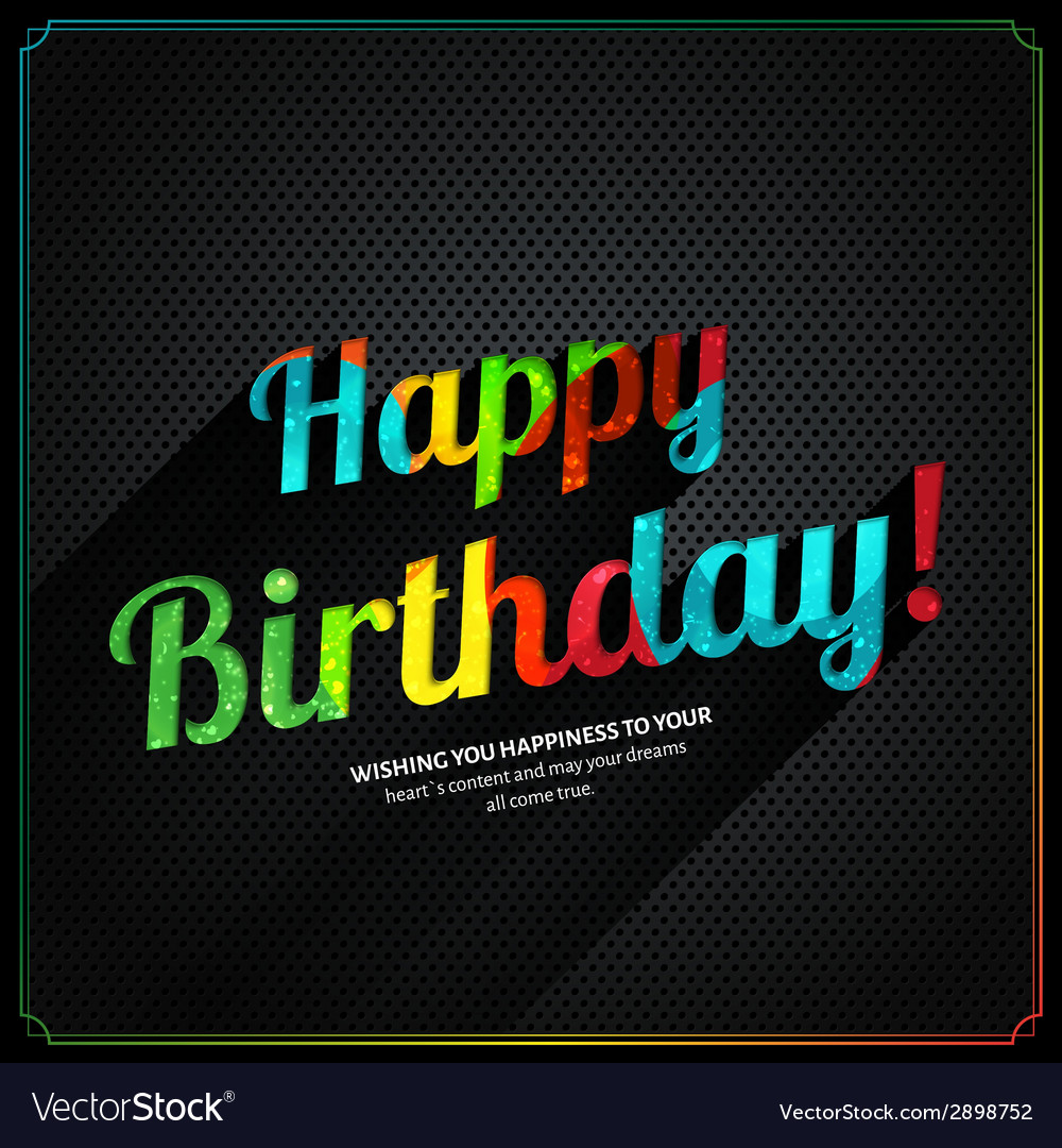 Retro birthday card with colorful text on metal vector | Price: 1 Credit (USD $1)