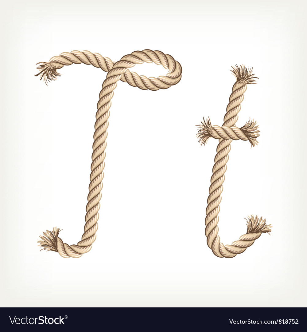 Rope alphabet letter t vector | Price: 1 Credit (USD $1)