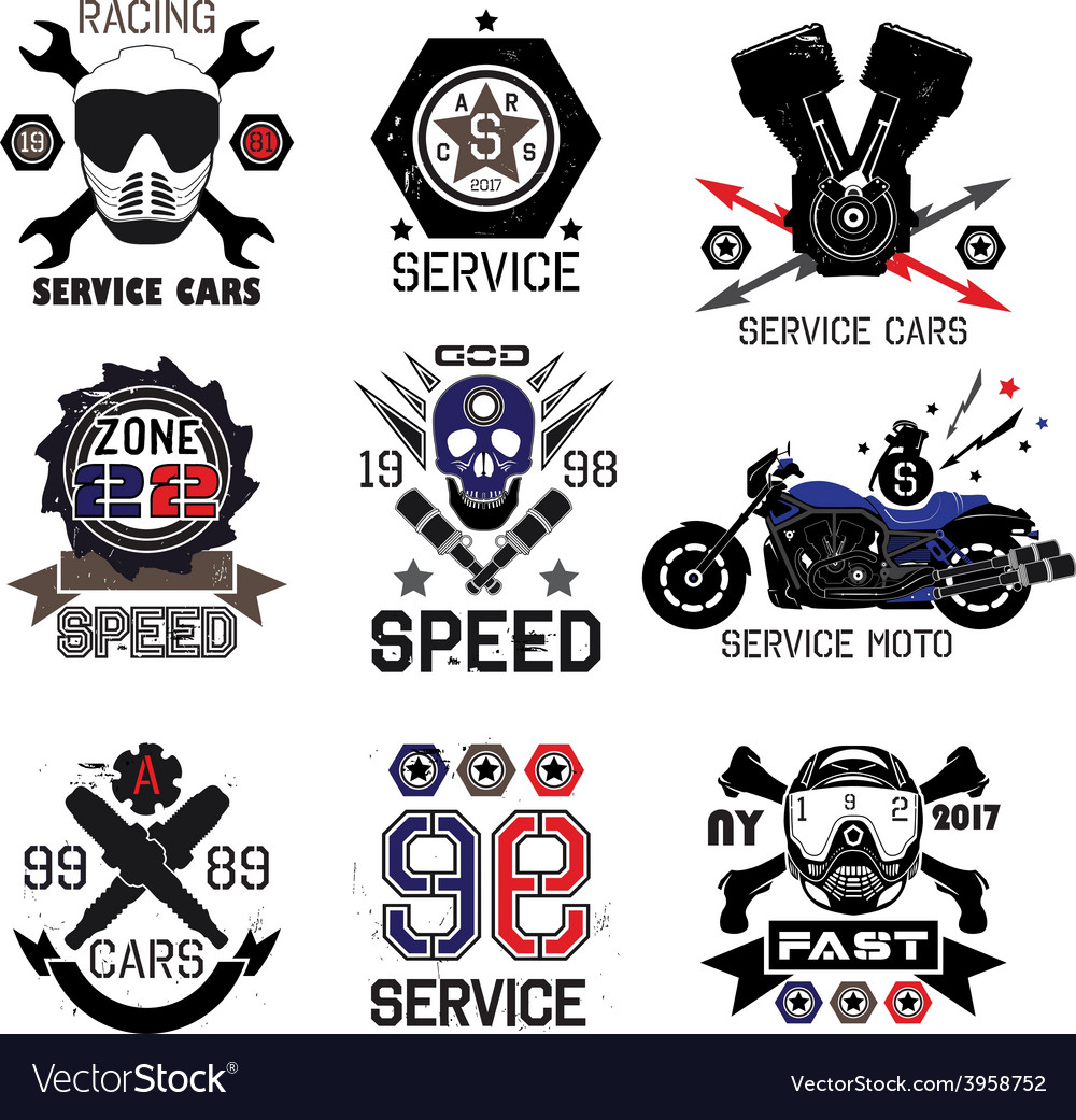 Set logo for moto shops and service cars vector | Price: 1 Credit (USD $1)
