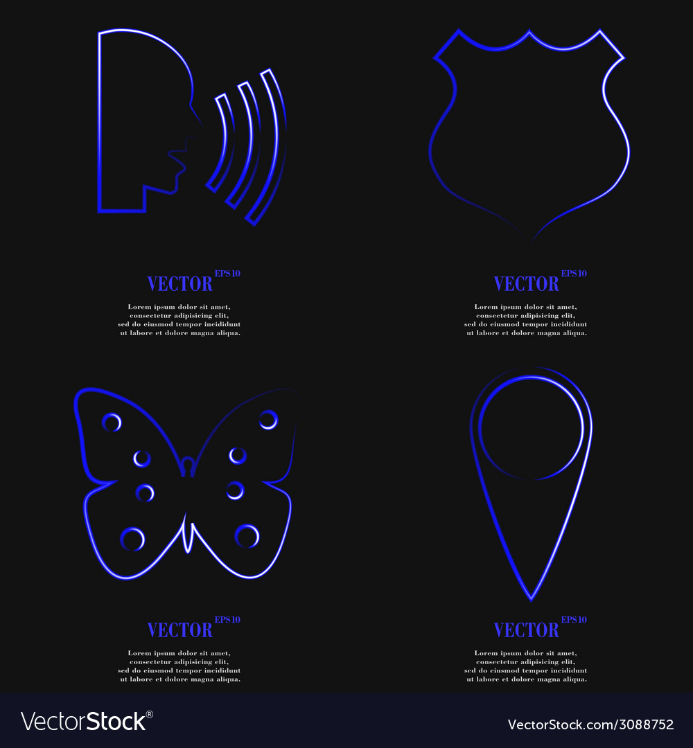 Set of fashionable blue icons trending symbols vector | Price: 1 Credit (USD $1)