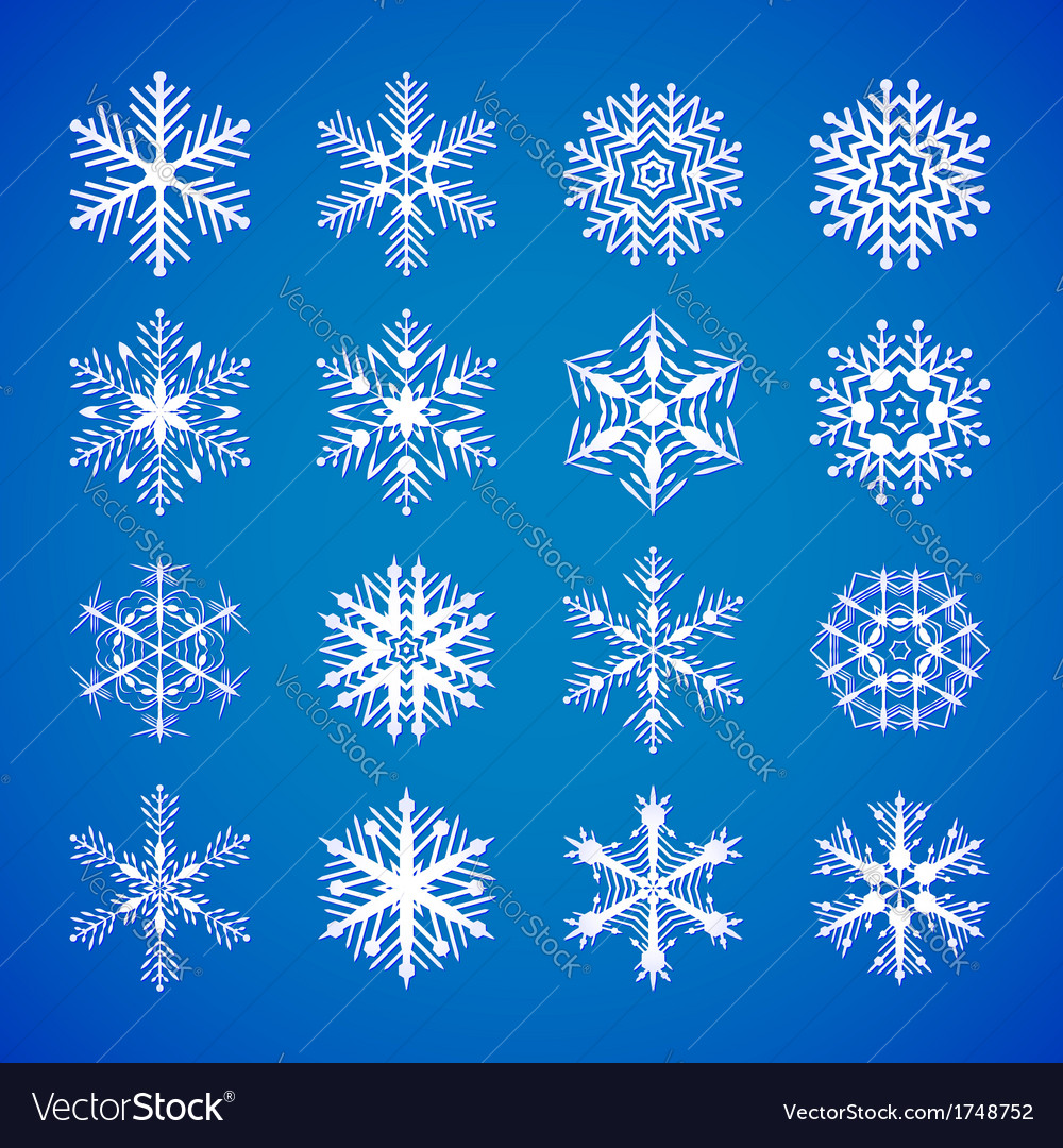 Set-of-white-snowflakes-on-blue vector | Price: 1 Credit (USD $1)