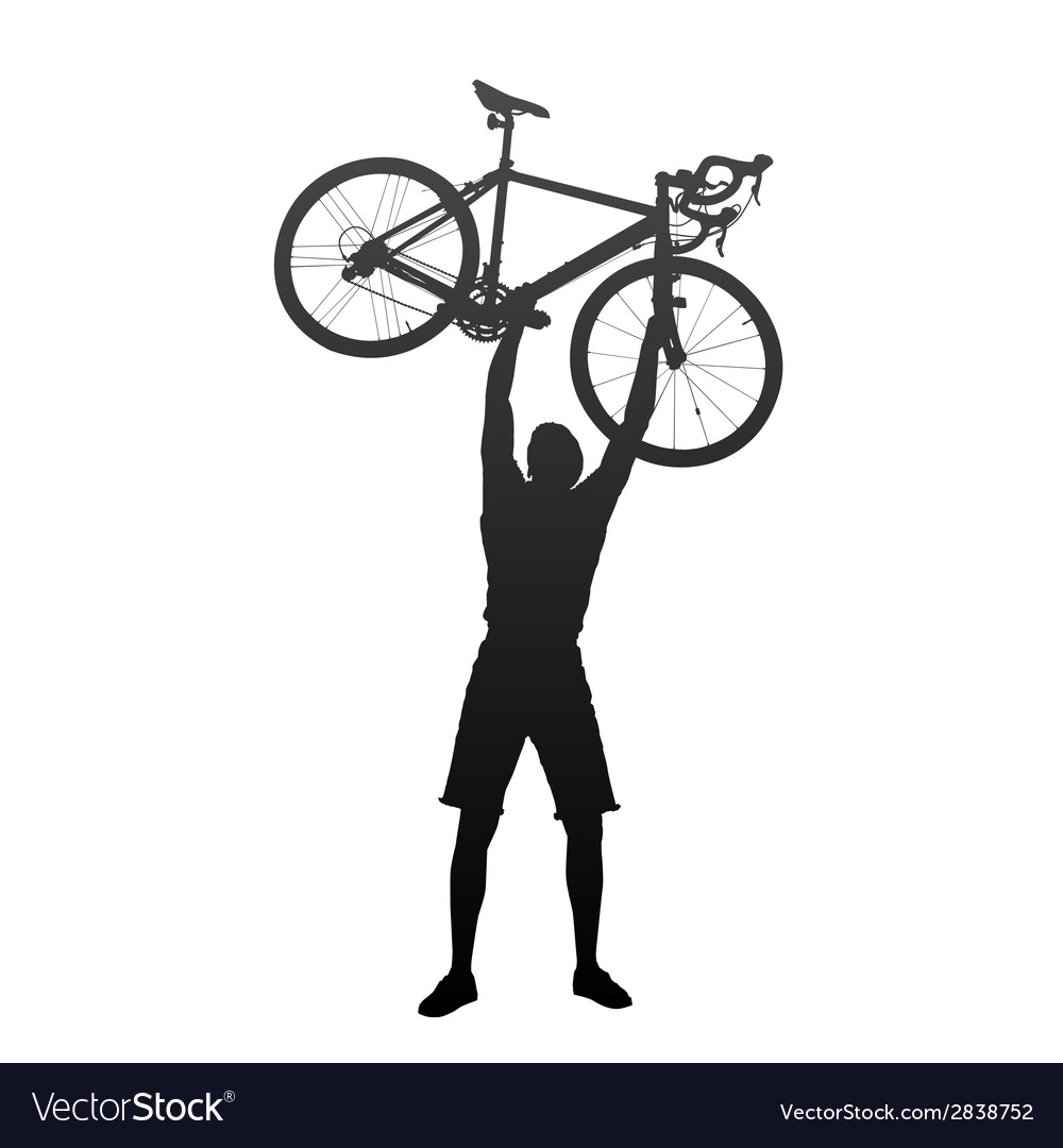 Silhouette of man with hands on racing bicycles vector | Price: 1 Credit (USD $1)