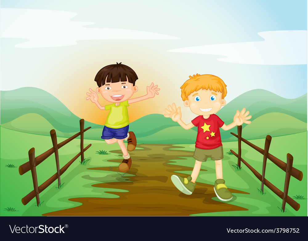 Two boys vector   Price: 1 Credit (USD $1)