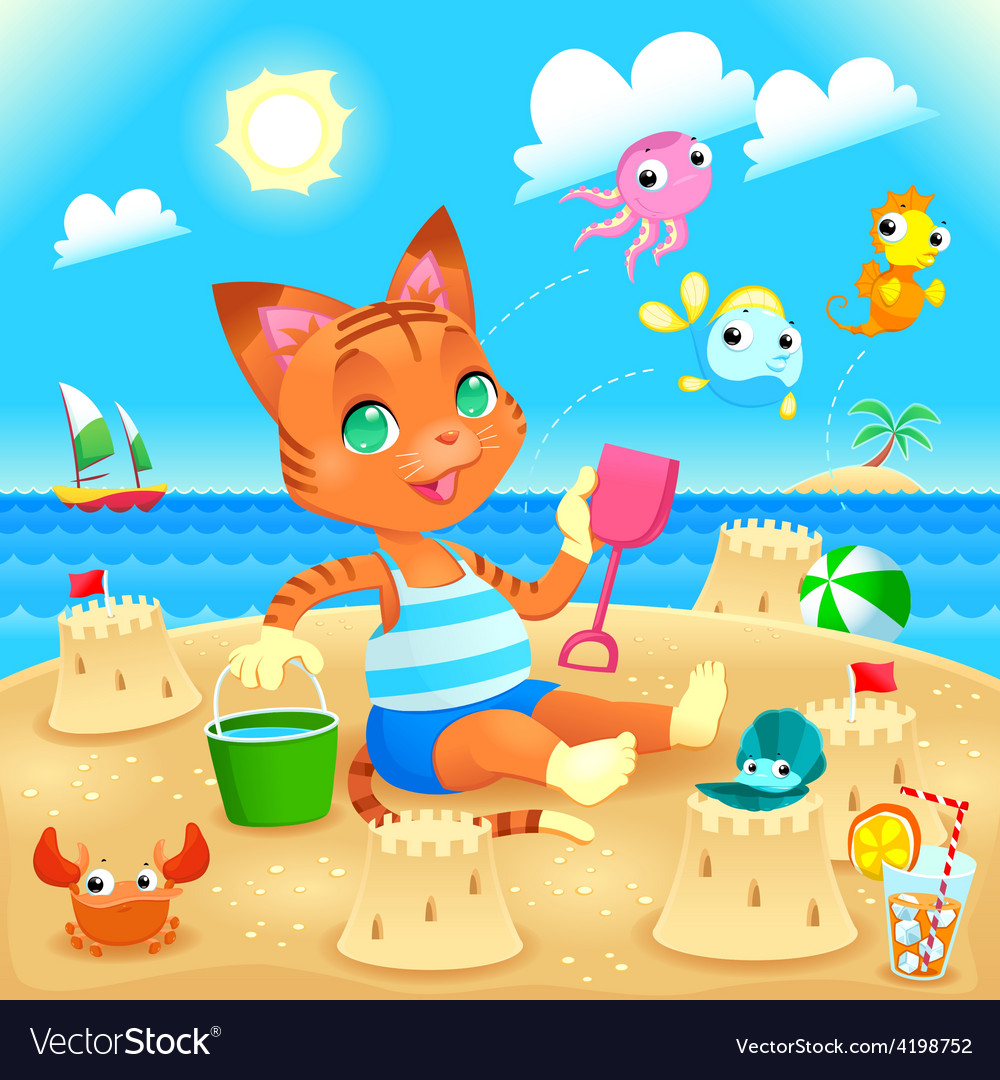 Young cat makes castles on the beach vector | Price: 3 Credit (USD $3)