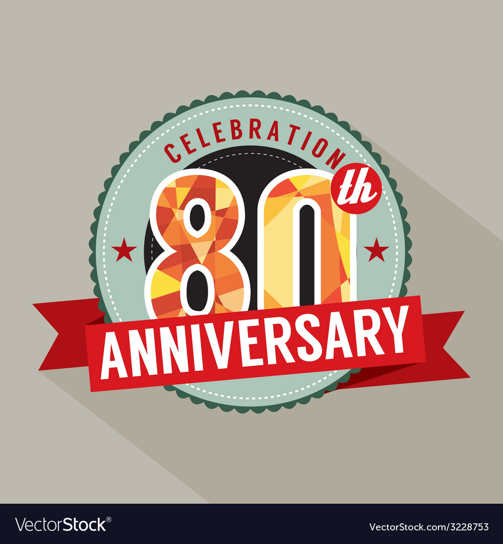 80th years anniversary celebration design vector | Price: 1 Credit (USD $1)