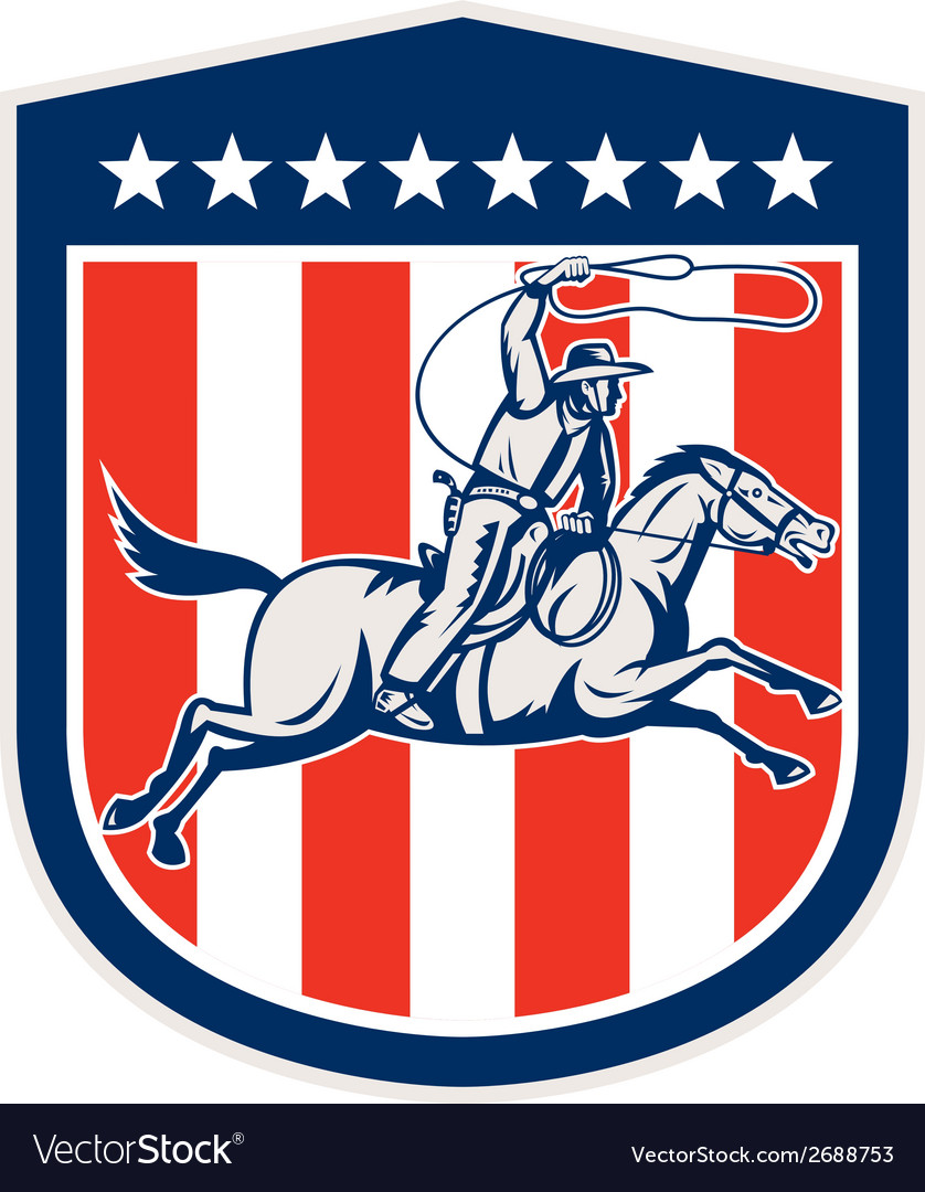 American rodeo cowboy horse lasso shield retro vector | Price: 1 Credit (USD $1)