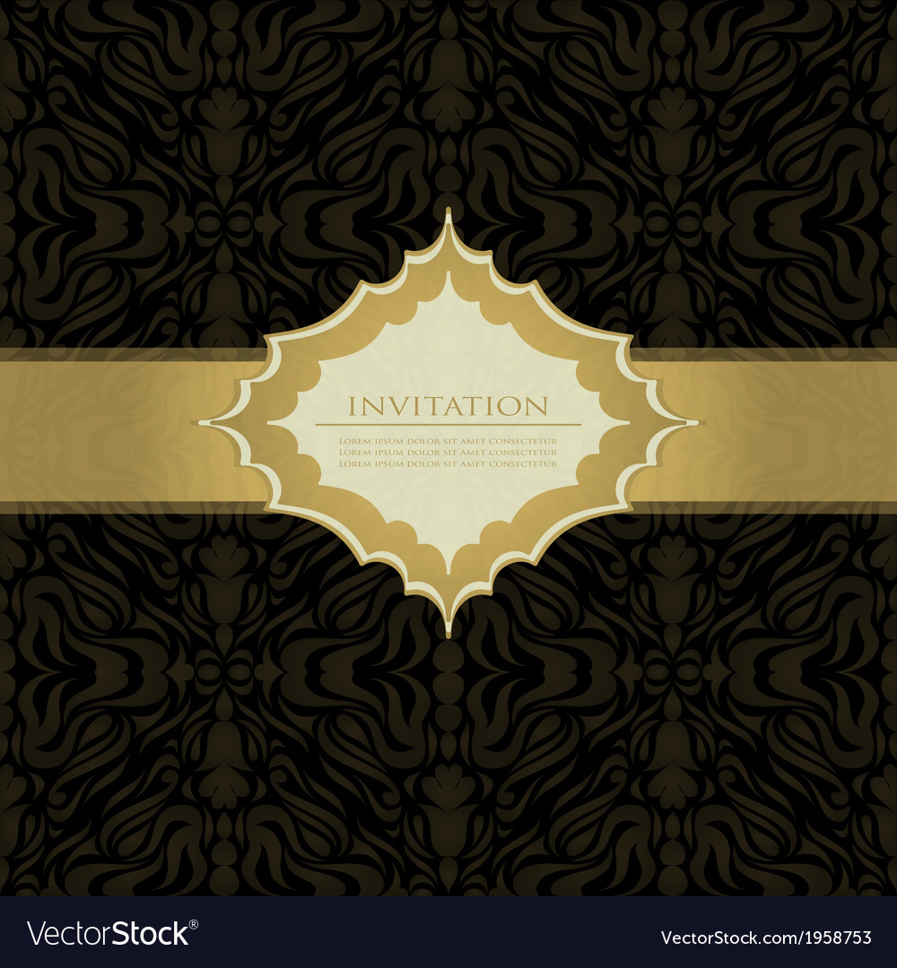 Black beautiful vintage swirl abstract gold card vector | Price: 1 Credit (USD $1)