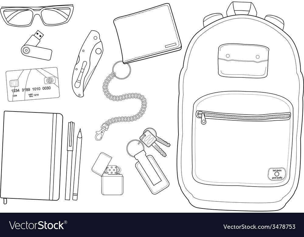 Every day carry man items vector | Price: 1 Credit (USD $1)