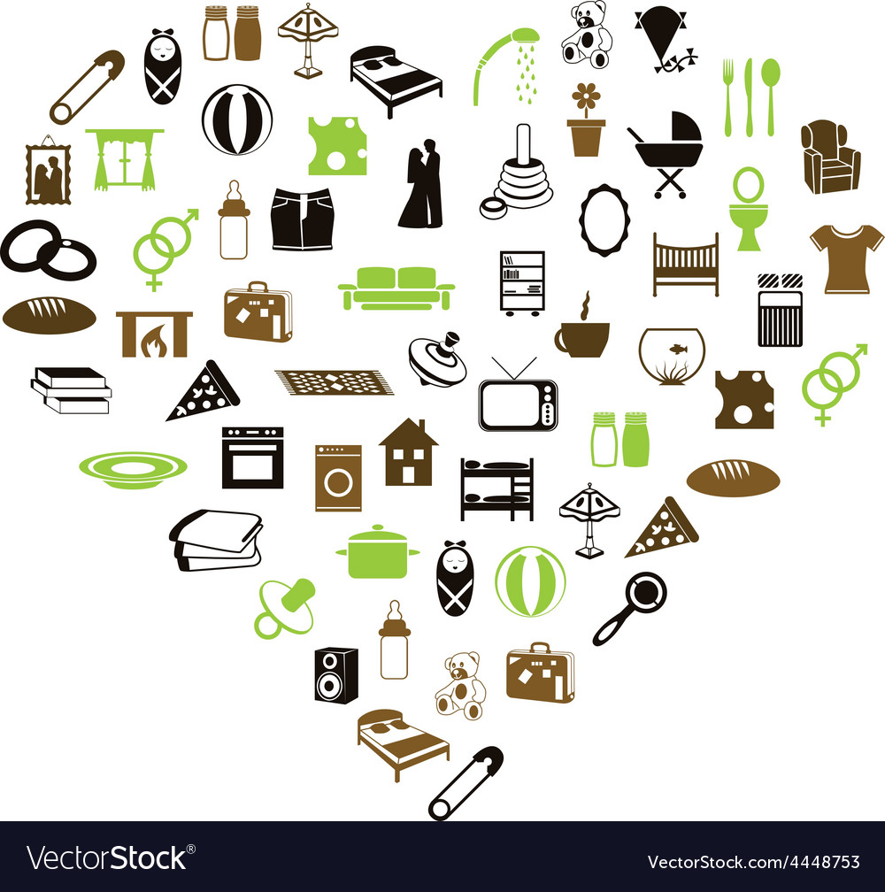 Family and home icons in heart vector | Price: 1 Credit (USD $1)