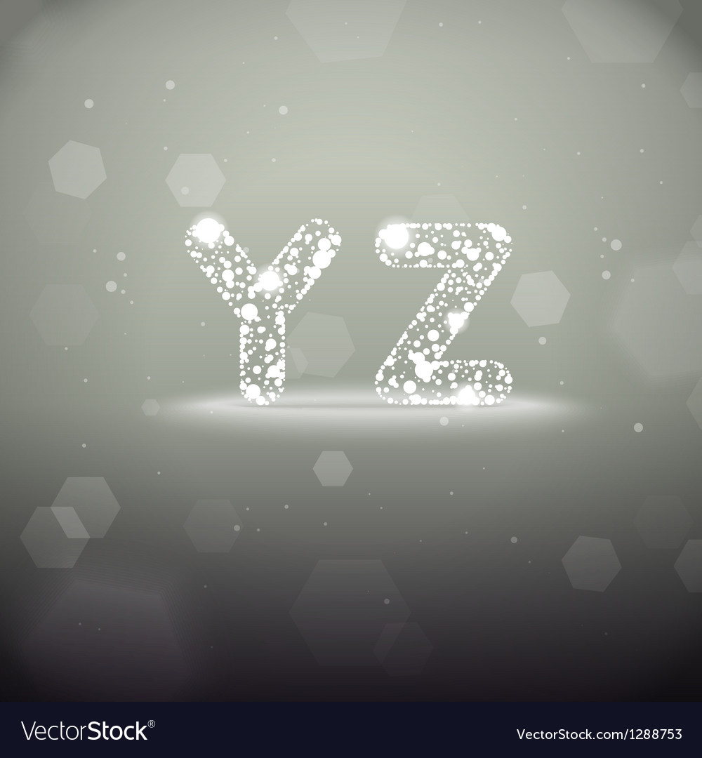 Glowing font from y to z on bokeh backgroun vector | Price: 1 Credit (USD $1)