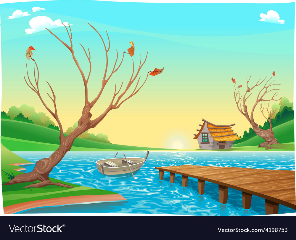 Lake with boat vector | Price: 3 Credit (USD $3)