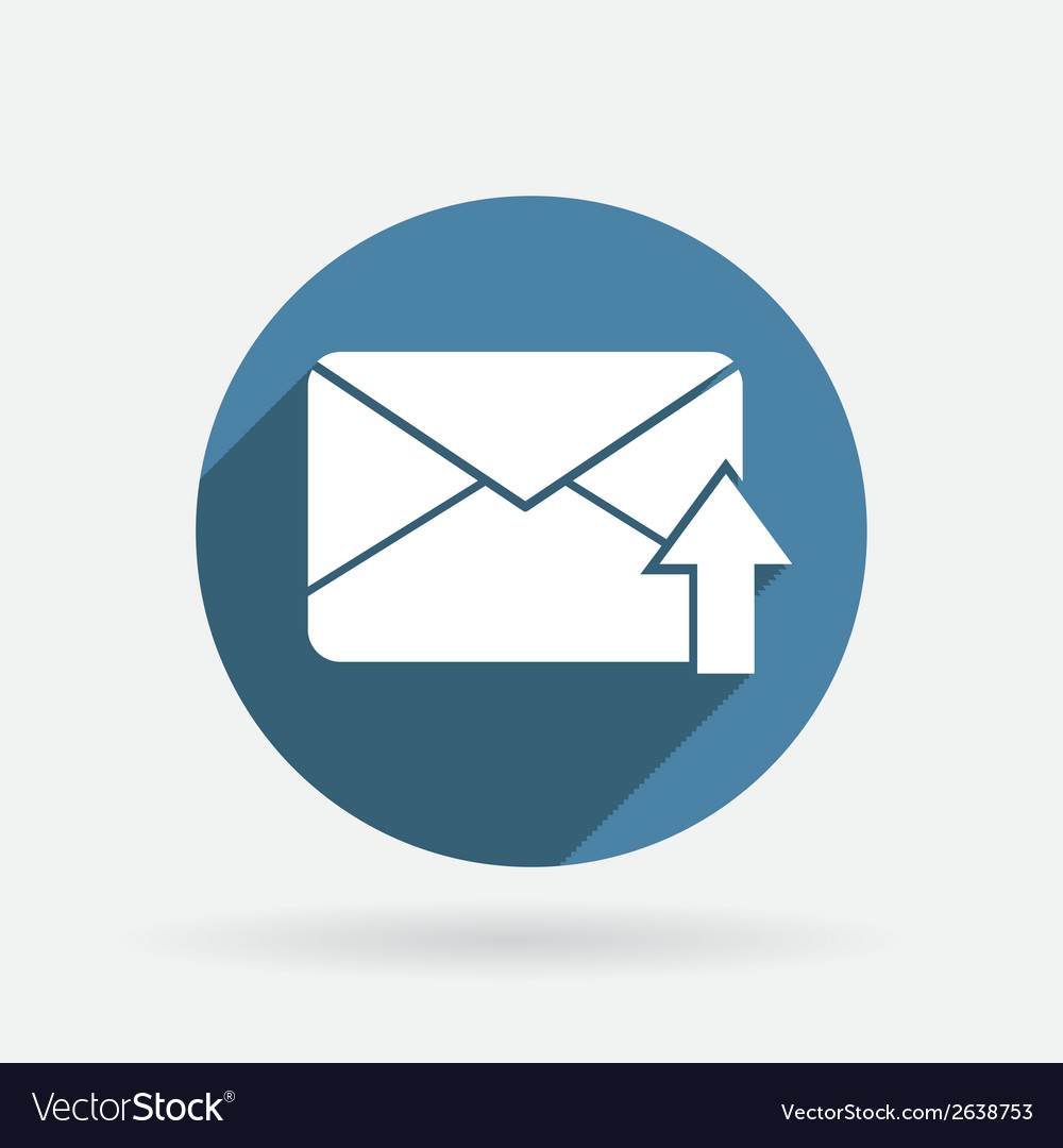 Postal envelope circle blue icon with shadow vector | Price: 1 Credit (USD $1)
