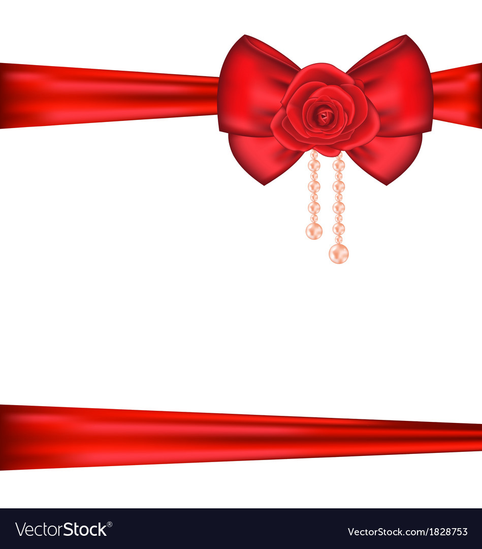 Red bow with rose and pearls for packing gift vector | Price: 1 Credit (USD $1)