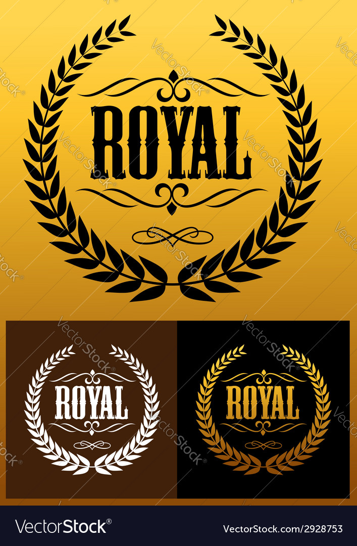 Royal laurel wreath icons vector | Price: 1 Credit (USD $1)